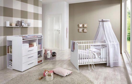 BMG Babymöbel-Set »Luis«, (Set, 5-St), Bett + Wickelkommode + Unterstellregal (Set 2-tlg) + Wandboard