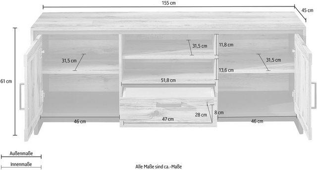 TV Möbel - Innostyle TV Board »Prato«, Breits 155 cm, 2 Holztüren, 1 Schubkasten, 2 offene Fächer  - Onlineshop OTTO