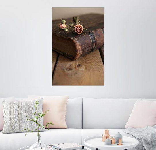 Posterlounge Wandbild, Trockene Rose und altes Buch