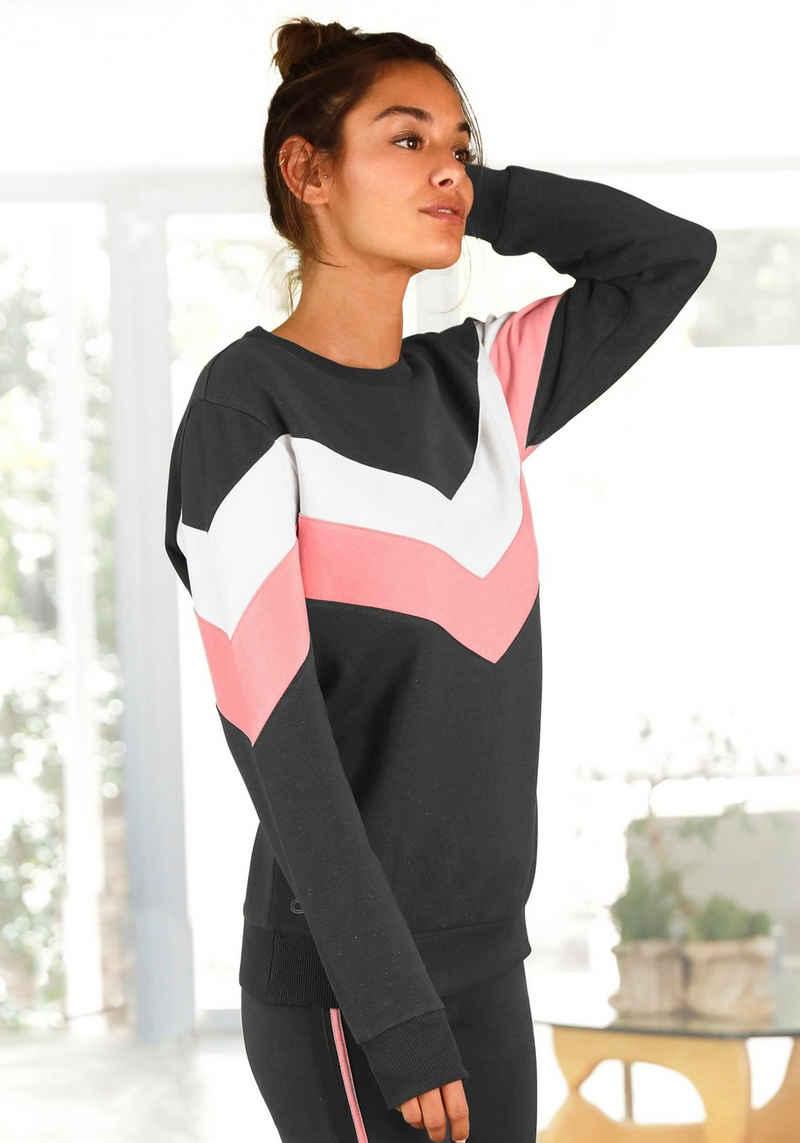 H.I.S Sweatshirt mit Kontraststreifen an Vorderseite und Ärmeln
