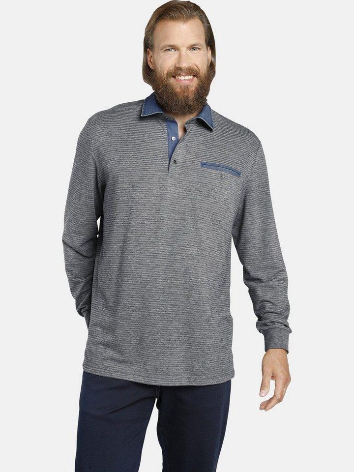 jan vanderstorm -  Langarm-Poloshirt »BERNWALD« mit modischen Denim-Details