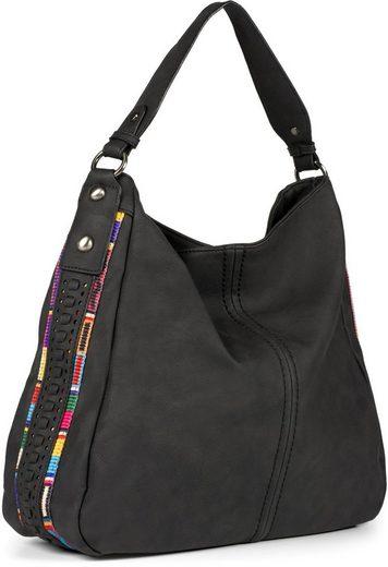 styleBREAKER Hobo, Boho-Style Hobo Bag mit seitlichen Verzierungen