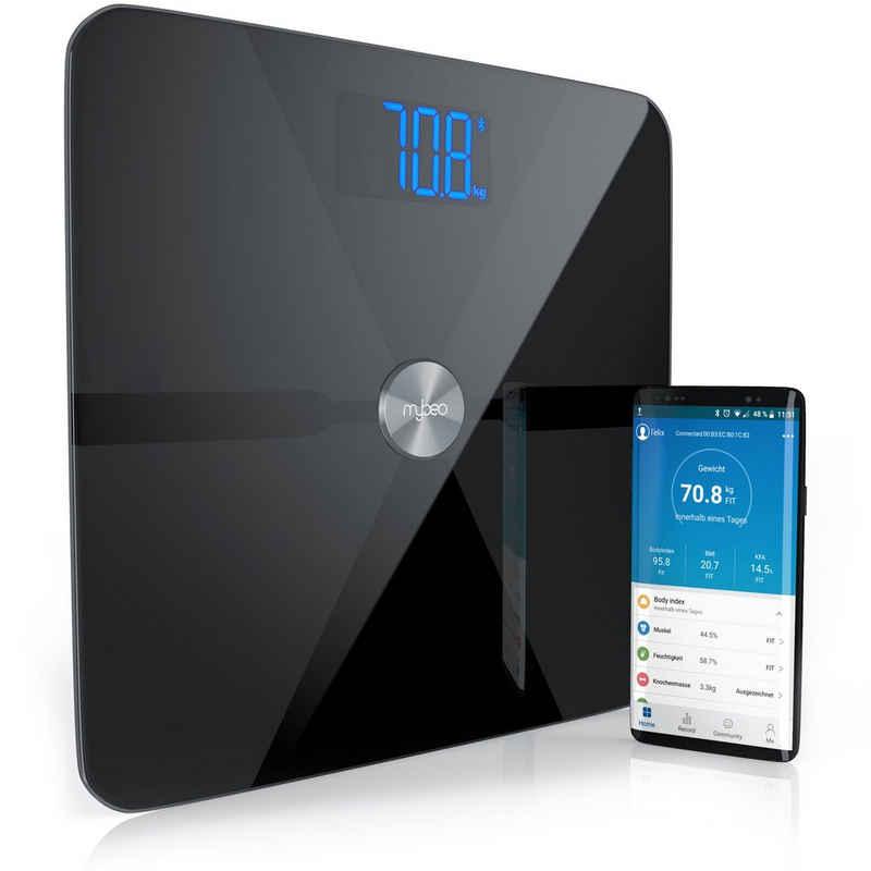 MyBeo Körper-Analyse-Waage, Digitale Bluetooth Körperfettwaage Diagnosewaage mit App-Steuerung