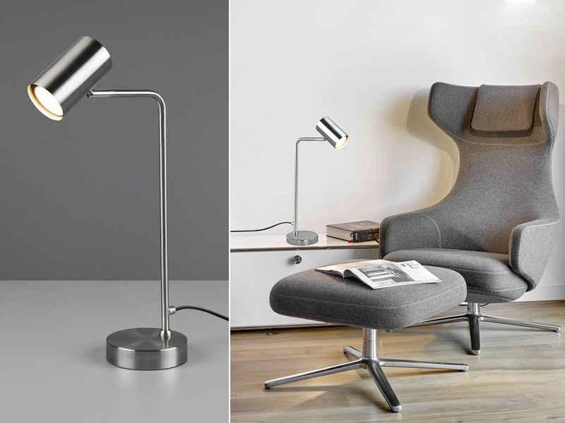 meineWunschleuchte LED Schreibtischlampe, Arbeitsplatzleuchte & Leselampe Bett - LED stufenweise dimmbar - Silber, für Schreibtisch-Beleuchtung, Nachttischlampe & Büroleuchte