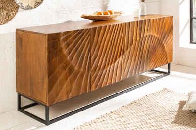 riess-ambiente Sideboard »SCORPION 177cm braun«, Massivholz · Anrichte · Metall · Kommode · 3D Schnitzereien · Wohnzimmer