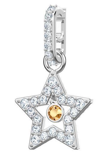 Swarovski Charm-Einhänger »Swarovski Remix Collection, Star, weiss, rhodiniert, 5443939«, mit Swarovski® Kristallen