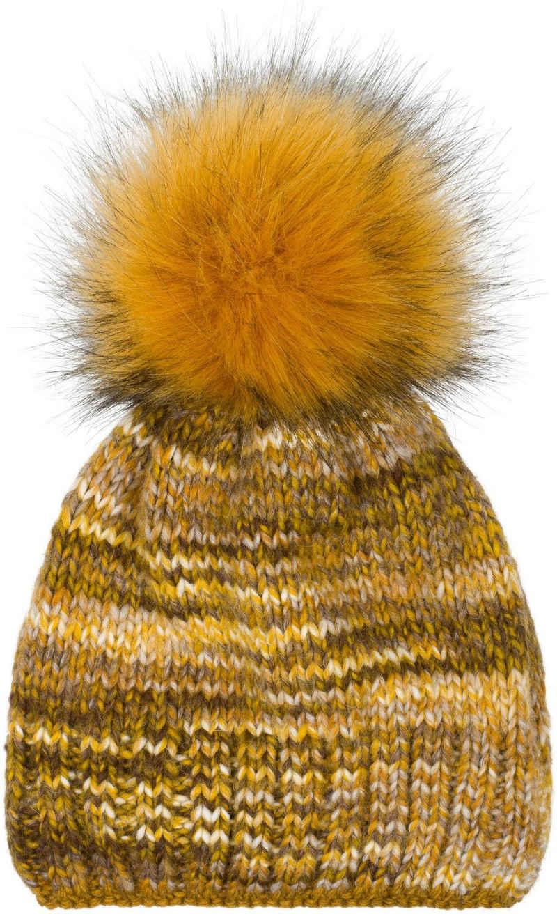 styleBREAKER Bommelmütze »Alpaka Strick Bommelmütze bunt gemustert« Alpaka Strick Bommelmütze bunt gemustert