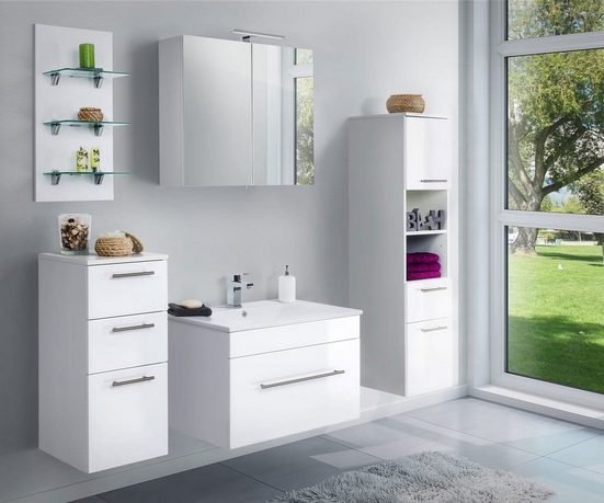 Emotion Badmöbel-Set »Badmöbelset SANTINI 5-tlg. Waschtisch, Badschränke und Spiegelschrank mit Lampe«