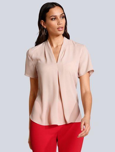 Alba Moda Bluse mit leicht vertieftem V-Ausschnitt