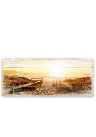 Wall-Art Holzbild »Sonnenuntergang Boho Deko« (...