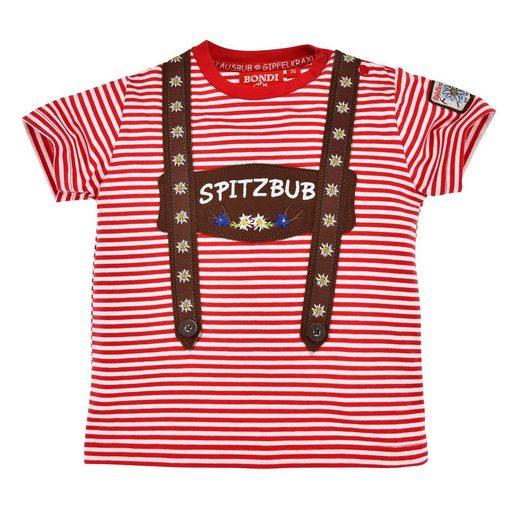 BONDI Trachtenshirt »Kinder Trachten T-Shirt, rot geringelt, bestickt mit Spitzbub auf applizierten Hosenträgern«