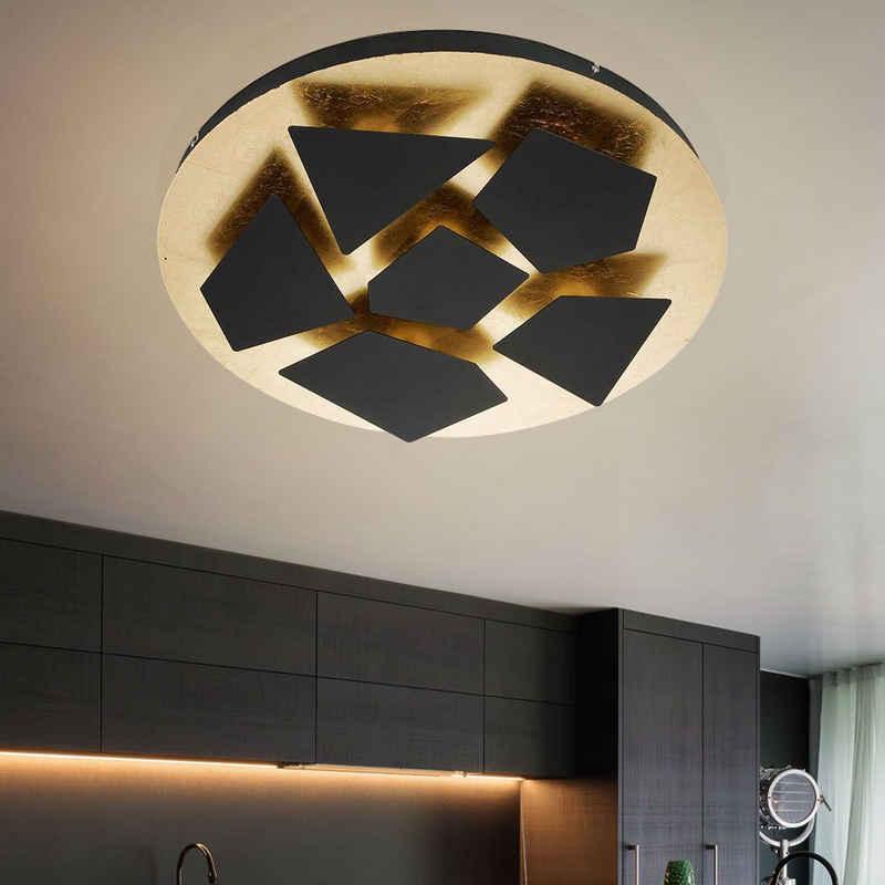 WOFI Deckenstrahler, LED Deckenlampe Deckenleuchte Wohnzimmerlampe Designer Retro Leuchte, Metall, Schwarz Gold, 2950 Lumen 34 Watt 3000 Kelvin, DxH 60x8 cm