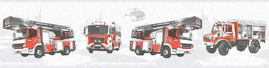 living walls Bordüre »Little Stars«, glatt, Borte mit Feuerwehrautos Kinderzimmer, Vlies, PVC-frei