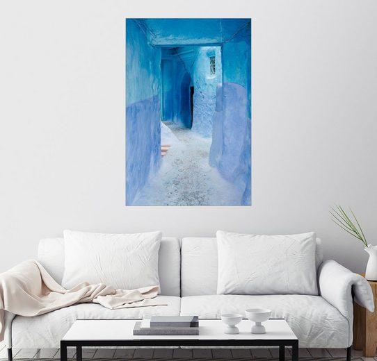 Posterlounge Wandbild, Blaue Wände und Tür in Medina von Chefchaouen, Marokko