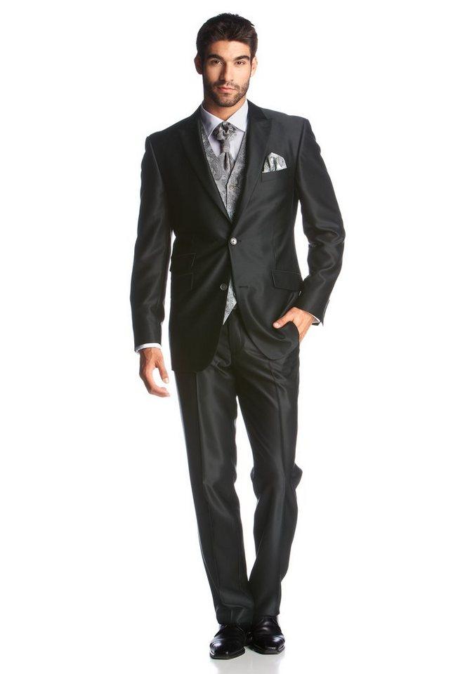 Studio Coletti Anzug 5-teilig (Set, mit Plastron und Einstecktuch, mit Weste) in schwarz