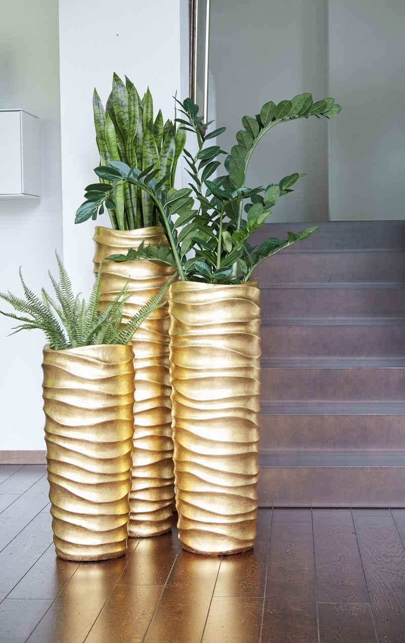 Flingora Bodenvase »Curly«, mit Einsatz - Fiberglas Pflanzvase - Indoor - Metallisch Gold - Höhe 76 cm / Ø 33 cm