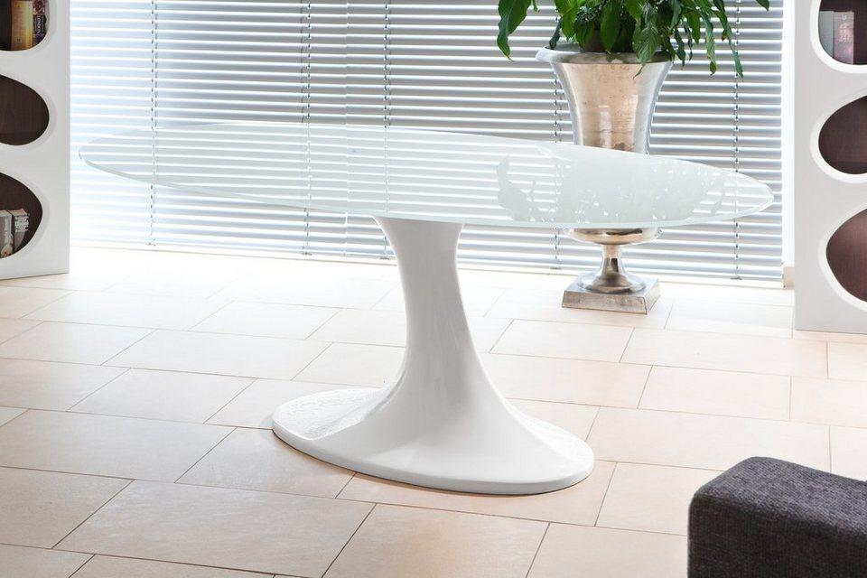 SalesFever Esstisch »Dinero Hochglanz weiß mit Glasplatte« in weiß