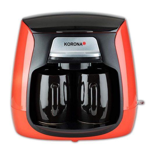 KORONA Filterkaffeemaschine 2 Tassen Kompakt-Kaffeemaschine, Mini Kaffeeautomat inkl. 2 Keramiktassen, Permanent Filter, rot