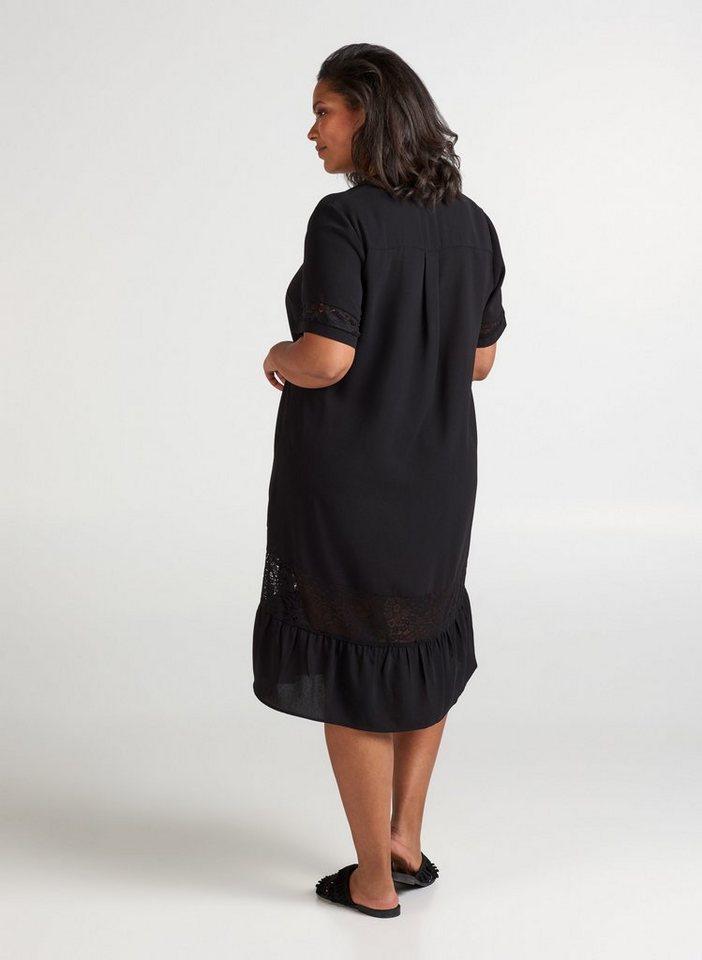 Zizzi Sommerkleid Große Größen Damen Kurzarm Kleid mit