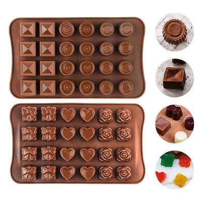 kueatily Schokoladenform »2 Stück Silikon-Schokoladenformen, Hohlraum-Schokoladenformen, Silikonformen, Backform für Schokolade, Kuchen, Gelee, Pudding, handgemachte Seife, rund«