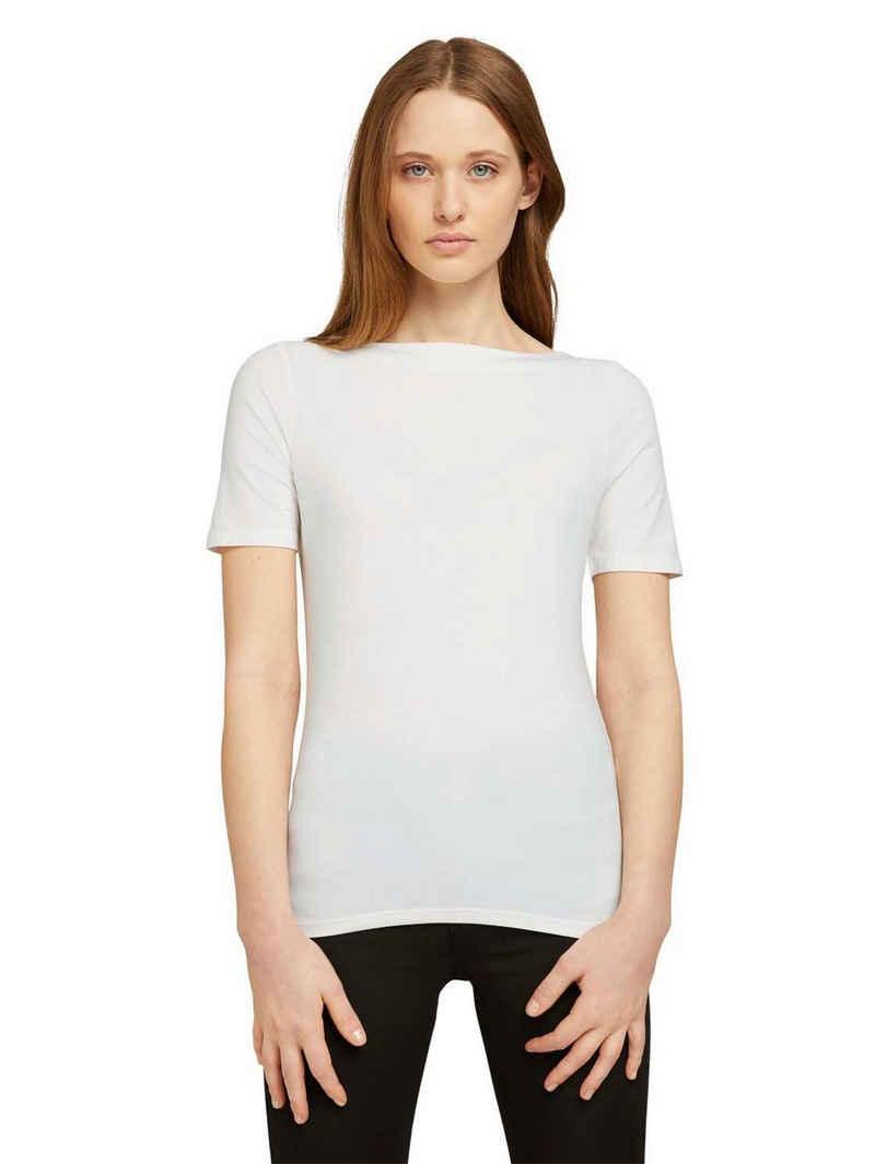 TOM TAILOR Denim T-Shirt mit U-Boot Ausschnitt