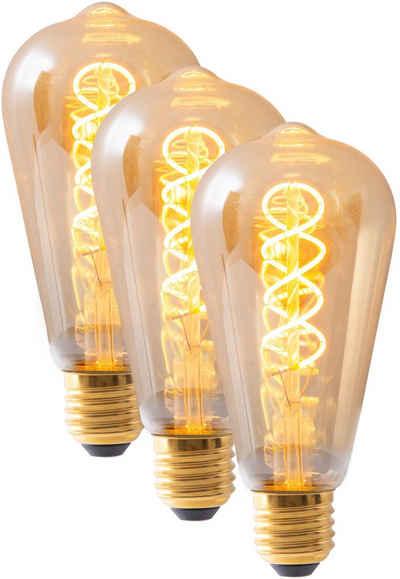 näve »Filament« LED-Leuchtmittel, E27, 3 Stück, Warmweiß, dimmbar, Set - 3 Stück, amberfarben