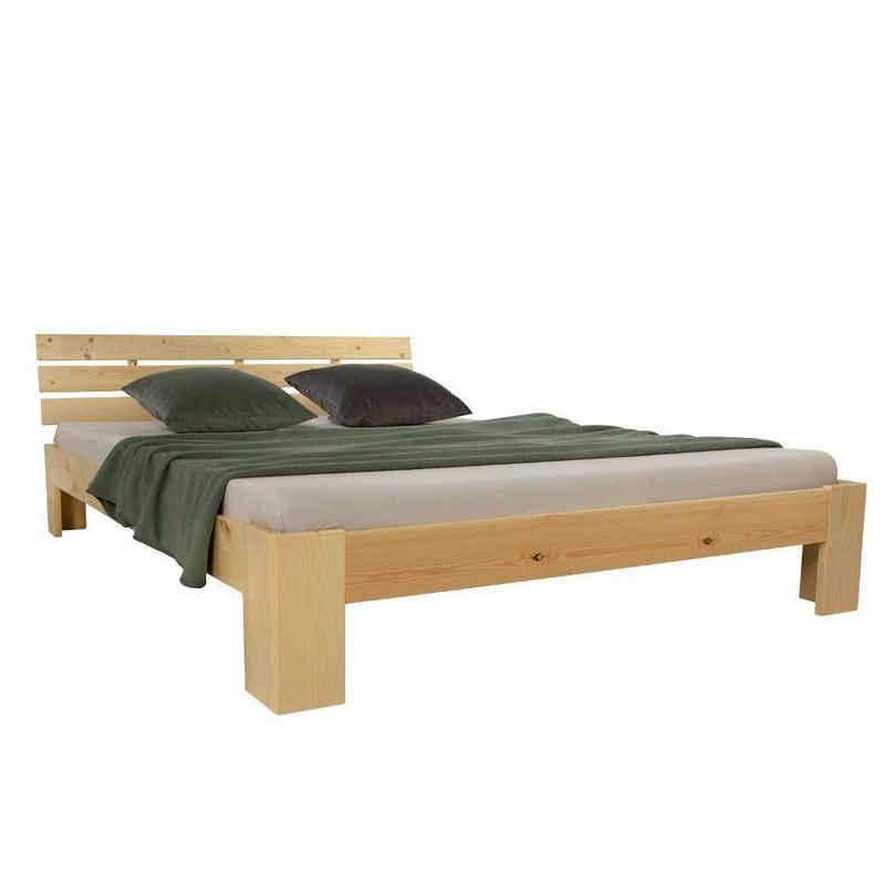 Homestyle4u Holzbett »Doppelbett Holzbett Futonbett 140 160 180 cm weiß«