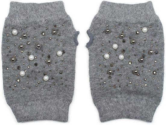 styleBREAKER Strickhandschuhe Fingerlose Strick Handschuhe mit Perlen und Strass