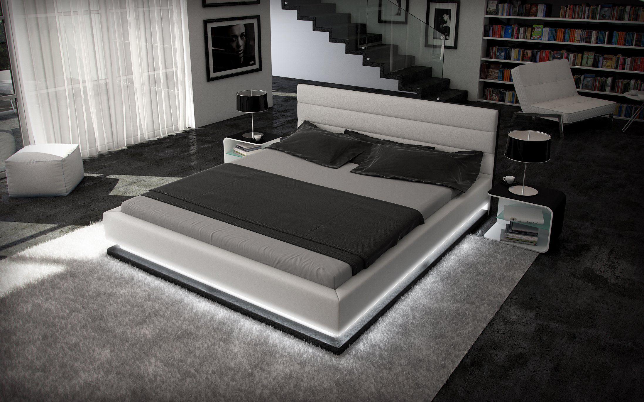 Innocent Designer Bett 180x200cm Kunstleder weiß schwarz Beleuchtung »Ripani«
