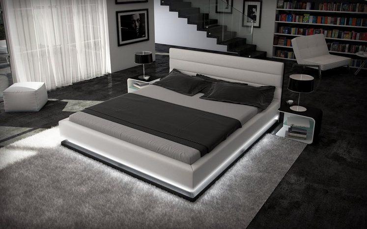 innocent designer bett 180x200cm kunstleder wei schwarz. Black Bedroom Furniture Sets. Home Design Ideas