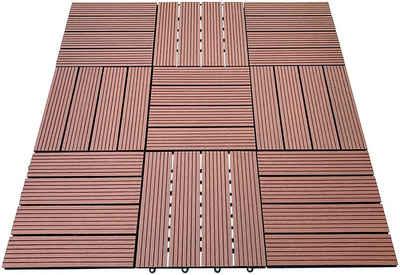 HOME DELUXE Terrassenplatten, 30x30 cm, 165-St., WPC-Fliesen