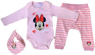Disney Minnie Mouse Body & Shorts »Minnie Mouse Disney Baby Mädchen Body, Hose + Lätzchen Set Rosa 3 6 12 18 24 Monate Gr.62 68 80 86 92 cm« (Set 3Teile, Set mit Body, Hose, Lätzchen) Geprüft ohne Schadstoffe