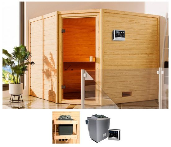 KARIBU Sauna »Leah«, 230x195x187 cm, 9 kW Bio-Ofen mit ext. Steuerung