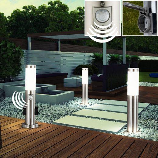 etc-shop LED Außen-Stehlampe, 3er Set LED Steh Lampen Garten Außenbereich Strahler Edelstahl Bewegungsmelder Sensor Leuchten