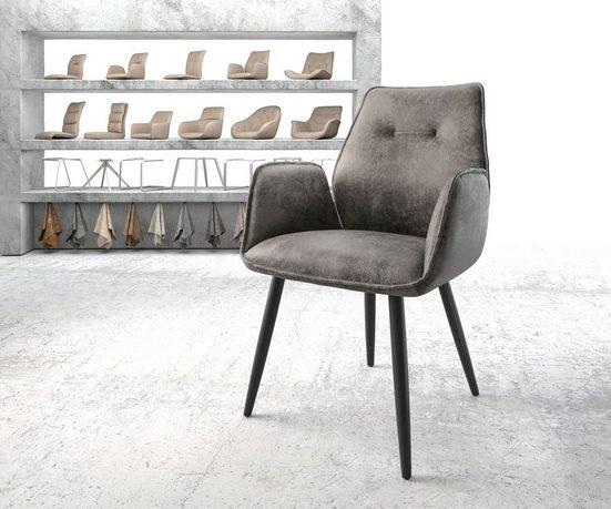 DELIFE Esszimmerstuhl »Zoa-Flex« 4-Fuß konisch Schwarz Vintage Grau