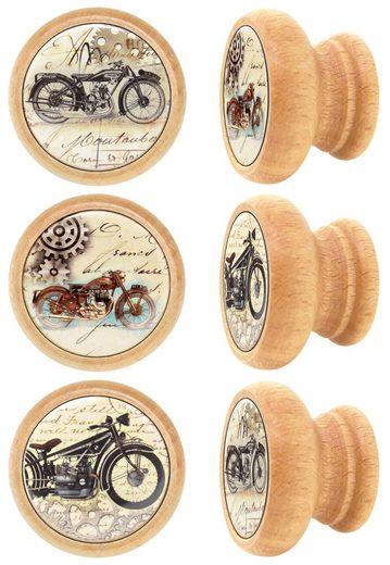 Lashuma Möbelgriff »Motorrad« (Set, 6-St), Runde Möbel Knöpfe mit Motorrad-Motiv, Schrank Griffe 4 cm Ø