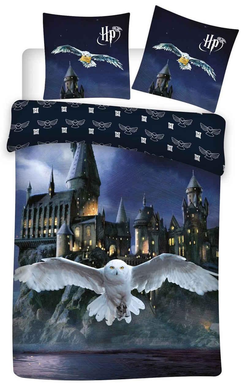 Bettwäsche »Harry Potter - Eule Hedwig - Bettwäsche-Set mit Wendemotiv, 135x200 & 80x80«, Harry Potter, 100% Baumwolle