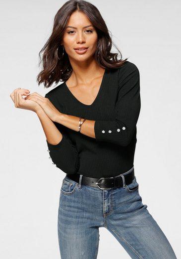 Laura Scott V-Shirt mit großem Rückenausschnitt aus Ripp-Qualität - NEUE KOLLKTION