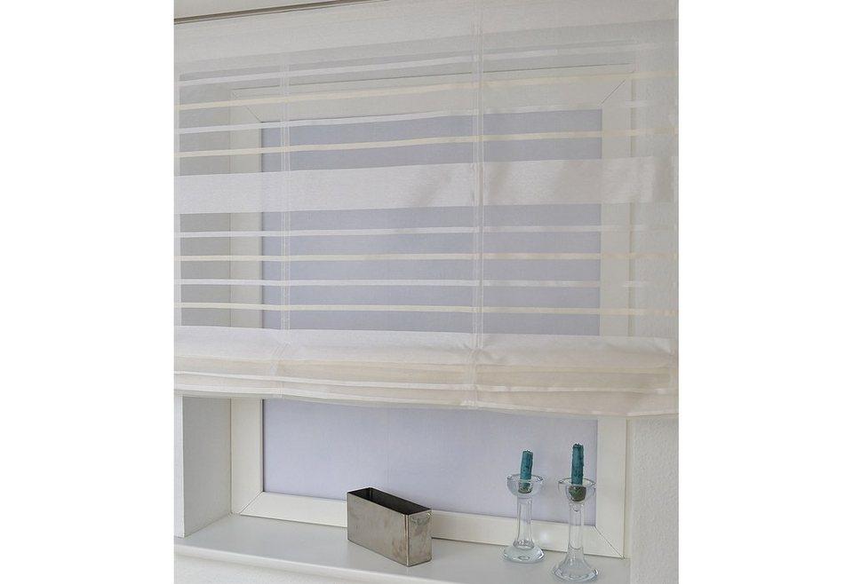 Raffrollo, Home affaire, »Fancy Streifen«, mit Klettband, auch ohne Bohren (1 Stck.) in weiß/sand