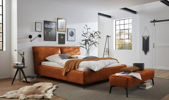 Places of Style Polsterbett »Tramonto«, in 3 Bezugsqualitäten, Biese, Kopfteil dick gepolstert