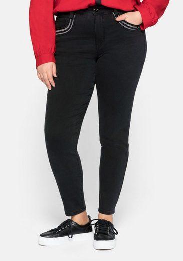 Sheego Stretch-Jeans mit Stickerei und Pailletten