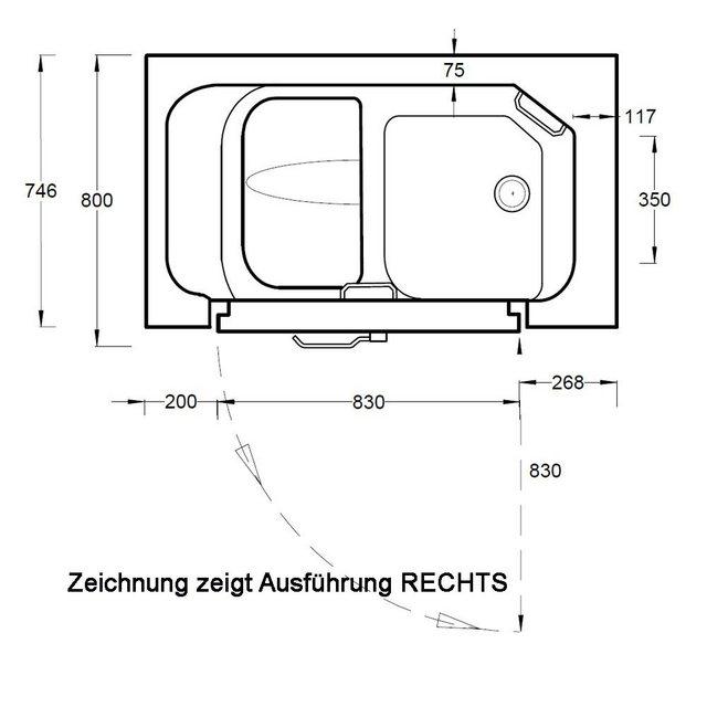 Badewannen und Whirlpools - HAK Badewanne »SERENITY Sitzbadewanne mit Tür«, 130x75 cm, rechts  - Onlineshop OTTO