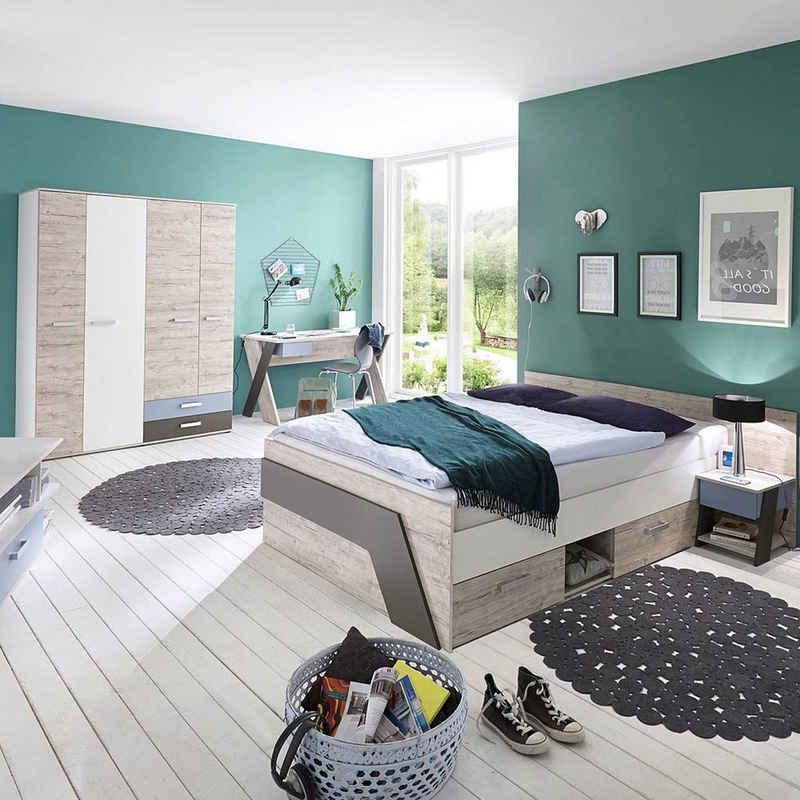 Lomadox Jugendzimmer-Set »LEEDS-10«, (Sparset, 4-tlg), mit Bett 140x200 cm und Schreibtisch 4-teilig in Sandeiche Nb. mit weiß, Lava und Denim Blau