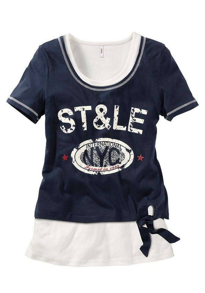 sheego Shirt & Top (Set, 2-tlg.) in marine-weiß