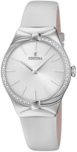 Festina Quarzuhr »UF20388/1 Festina Damen Uhr Fashion F20388/1 Leder«, (Analoguhr), Damen Armbanduhr rund, Lederarmband weiß