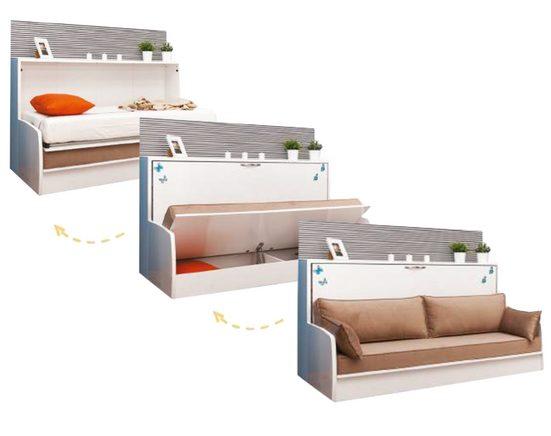 Multimo Schrankbett »SOFA BED Wandbett / Schrankbett mit Stauraum, 90x200 cm« inkl. Lattenrost