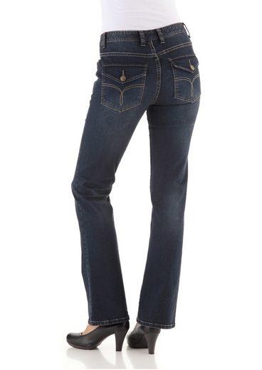 Cheer Bootcut-Jeans Petra, mit bestickten Patten-Gesäßtaschen