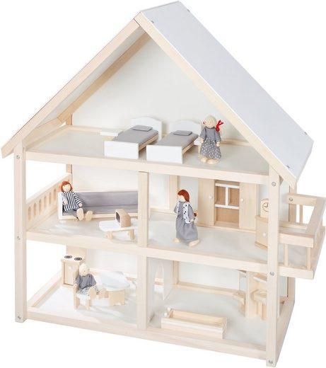 roba® Puppenhaus, mit 4 Puppen und 24 Einrichtungsteilen
