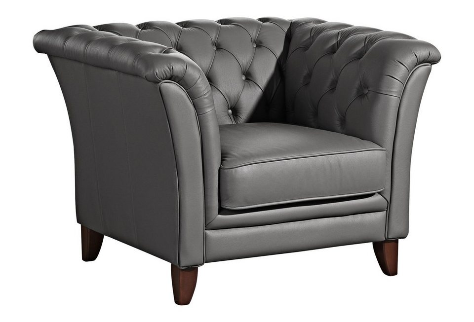 Max Winzer® Chesterfield Sessel »New Castle«, mit edler Knopfheftung in anthrazit