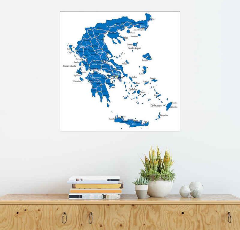 Posterlounge Wandbild, Griechenland - Politische Karte